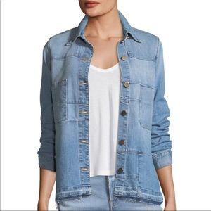 FRAME Le Patchwork Button-Front Denim Jacket